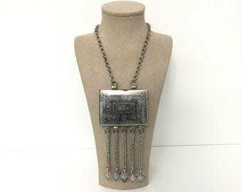 Antique ethnic tribal silver tassel necklace