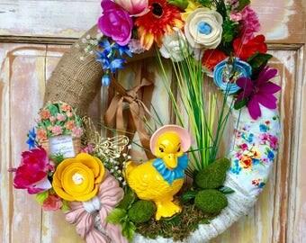 SALE  Duck wreath; Spring wreath; Summer wreath; Upcycled ornament wreath; burlap and fabric wreath; Flower wreath