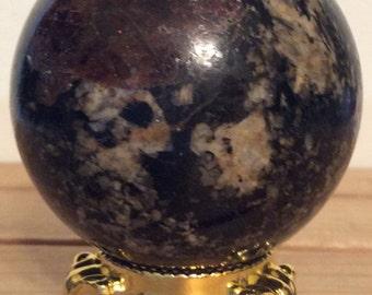 Garnet and Tourmaline Sphere,Gesmtone Sphere 55mm,Healing Stone, Healing Crystal, Chakra  Stone, Spiritual Stone