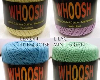 CROCHET YARN 100% Pure Mercerized Crochet Cotton Size No.10 - Choose Colour - 60 gram ball - 366 metres long - crochet yarn
