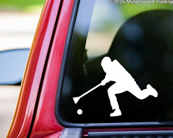 """Broomball Player vinyl decal sticker 5"""" x 3.5"""" Broom Ball Ice *Free Shipping*"""