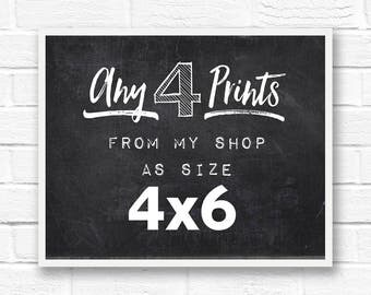 4x6 prints, set of 4 prints, set of prints, custom prints, custom art prints, custom print quote, print set, small prints, customize, gifts