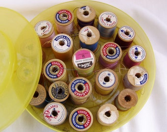 Yellow Plastic Thread Box Filled with Wooden Spools of Thread, 1960's