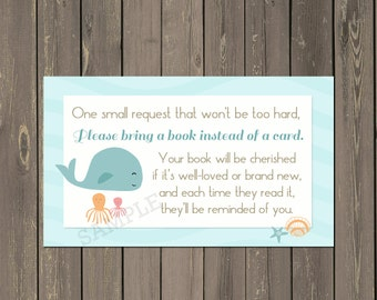 Ocean Friends Book Request Insert, Whale Baby Shower Book Card, Books for Baby Insert, Book instead of Card, Instant Download
