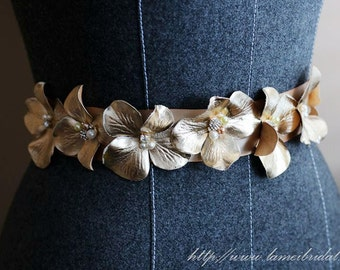 Golden Flower Wedding Bridal Belt with Champagne ribbon Sash, Gold wedding dress sash belt
