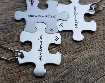 Customizable Wombmates Puzzle Piece Name Necklace  Personalized Hand Stamped  Necklace Bridesmaid Graduation/Best Friends Twins Triplets