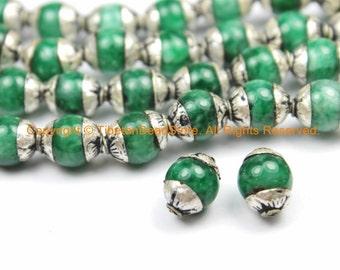 2 BEADS - Small Green Jade Tibetan Beads with Repousse Real Silver Caps - Handmade Tibetan Beads - B3113-2
