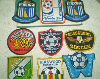 Lot of Vintage Soccer Patches- soccer patches from Delaware, NJ, MD- Glassboro Soccer patch, Pennsville Soccer, Westville Soccer patches