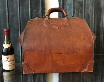 Giant Art Deco Period Cowhide Train Luggage Suitcase