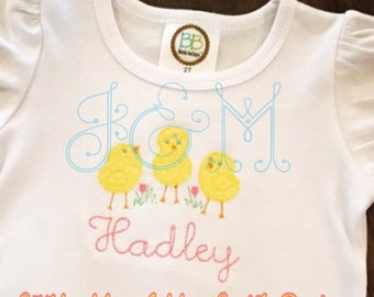 Three Sweet Baby Chicks Applique Design 4x4 and 5x7