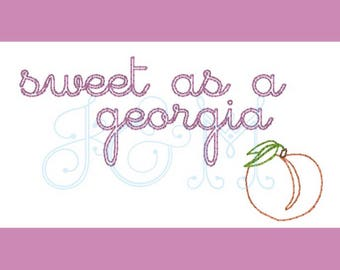 Sweet as a Georgia Peach Vintage Stitch Embroidery Design 4x4 and 5x7