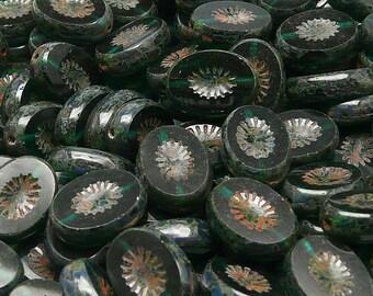 10pcs Czech Glass Table Cut Beads Oval 14x10mm Kiwi  Chrysolite Transparent  Travertine (KW011)