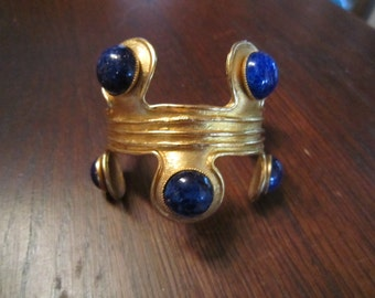 Sonia, Italy, Gold Plated Cuff with Faux Lapis Lazuli