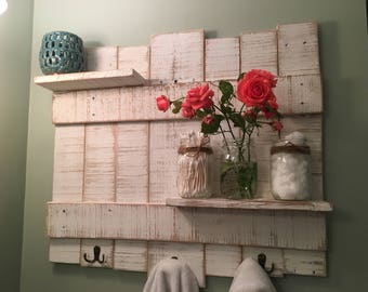 Rustic Towel Rack Wooden Bathroom Decor