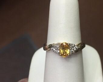 yellow sapphire and diamond 14k yellow gold ring