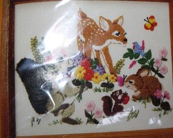 Creative Circle KIT Forest Friends 0536 Needlework Crewel Deer Fawn Bambi Squirrel Raccoon Rabbit
