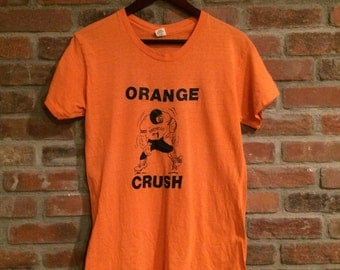 Vintage 70's Denver Broncos Shirt Orange Crush NFL John Elway Made in USA Hanes 1970's