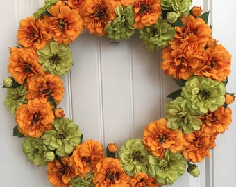 READY TO SHIP-Spring and Summer Wreath-Zinnia Wreath-Orange and Green Wreath-Front Door Wreath-Mother's Day Gift-Orange Green Zinnia Wreath