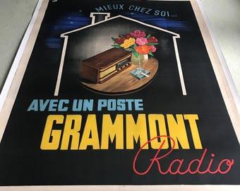 Original Vintage French Poster GRAMMONT RADIO 1940s