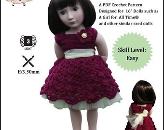 Pixie Faire Ma Petite Cherie Couture Tumbling Scallops Doll Clothes Crochet Pattern forA Girl For All Time Dolls - PDF