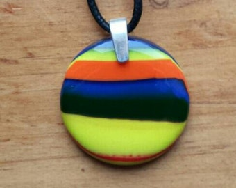 Round Fused Glass Necklace, blue, red, black, white, yellow colored opalescent glass necklace, P105