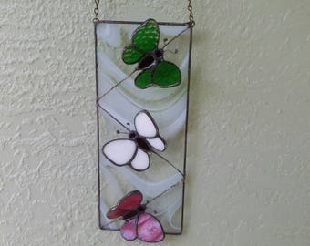 Stained Glass Butterflies at Rest,Colorful Suncatcher,OOAK,Nature Art,Garden Decor,Handmade,Gift for Mom,Butterfly Ornament,Butterfly Art,#3