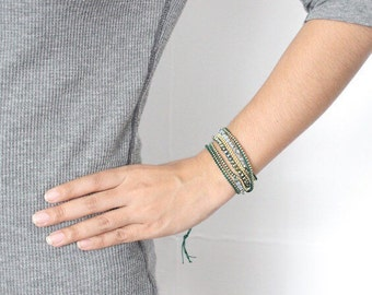 Bead and Chain Wrap Bracelet - Green - Thailand  (029B)