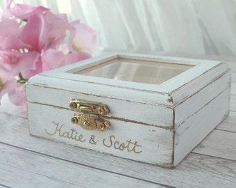 Wedding Ring Bearer Box Rustic Engraved Personalized Shabby Chic Wedding Ring Holder Custom Bearer Pillow Alternative Ring Box Pillow option