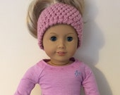 "Pink messy bun hat  - suitable for 18"" dolls. 18 inch doll, 18"" doll, doll hat (will fit American girl, Gotz precious day)"