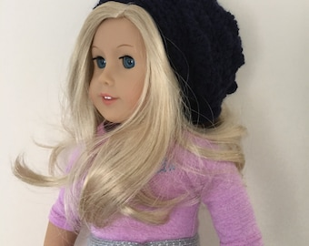 18 inch doll hat, doll slouchy hat, doll hat, doll accessories, crochet doll hat, dolls clothes, navy, (will fit American Girl doll).