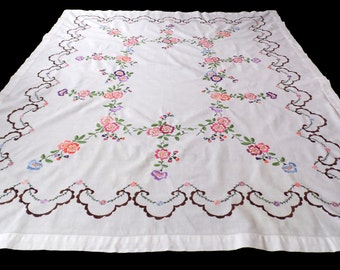 big Vintage white cotton tablecloth with floral hand embroidery embroidered flowers table cloth 60s