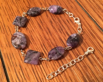 Bracelet. Purple stone beads on Silver colored Chain. Extension. Jewelry.