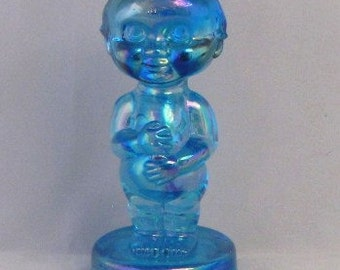 Blue Carnival Glass Kewpie Glass Doll, KNV