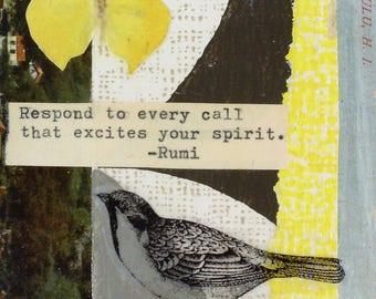 greeting card, Rumi, graduation, birthday, retirement, graduation, inspiration,  blank, handmade, collage, card, vintage postcard, bird