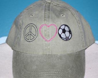 Custom Baseball Cap - Peace Love Soccer embroidered baseball cap - Great custom gift - baseball hat embroidered - Soccer Lover Hat