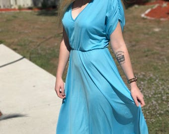 70s Light Blue Dress