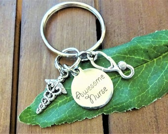AWESOME NURSE KEYCHAIN w stethoscope & caduceus - nurse zipper pull - see all photos - one flat rate shipping in my shop :)