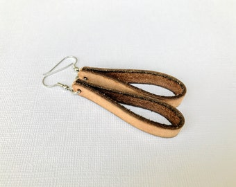 Free Shipping,Brown Leather Loop Earrings,Greek leather,leather dangle earrings,handmade leather earrings, brown leather hoops, Made in USA