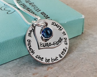 And though she be but little she is fierce personalized necklace with name and birthstone encouragement gift engraved necklace jewelry