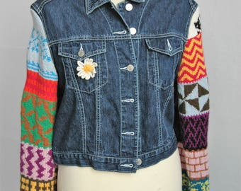 Upcycled jeans jacket multicolor