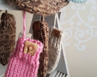 Toddler Thumbless Mitts with Strings