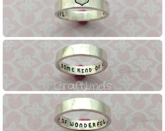 sterling silver ring,hand stamped, secret message ring, together forever, infinity, personlaised, your message, custom made