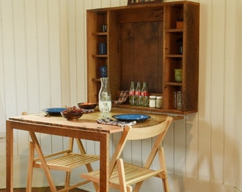 Fold Down Table for Tiny House- folding table or desk for tiny home built from reclaimed barn wood, barn wood furniture