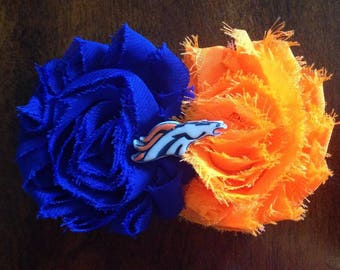 Denver Hair Clip; Broncos; Denver Broncos; Shabby Flower; hair bow; hair accessories; lapel clip
