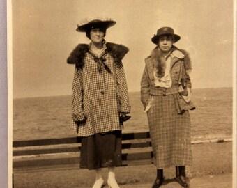 Vintage Snapshot Photograph two Women 1920s Frumpy Fashion Photo