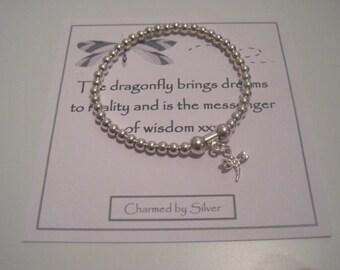 Sterling Silver Dragonfly Charm Stretch Bead Bracelet