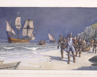 Conquistadores landing ashore on Santa Cruz Island.
