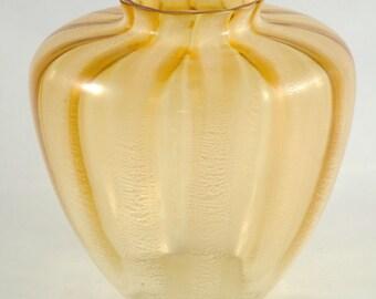 Vintage Dutch design glass vase Leerdam Andries Copier tincraquele
