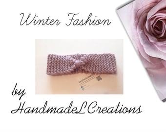 Ladies Knitted Headband / Earwarmers Knit In Dusky Pink, knit with Rowan Big Wool Super Chunky merino