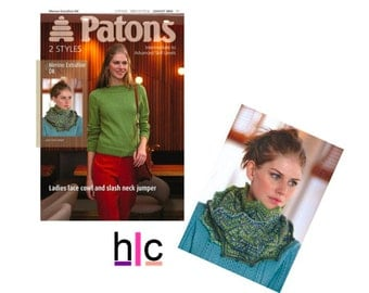 Patons 3943 - Ladies Slash Neck Jumper and Lace Cowl Knitting Pattern, Cable Knits, Modern Knitting Pattern